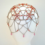 SOLD Rare Vintage Flapper Medieval Head Covering Theatrical Hat Crystals Red Clear Metal Chain