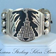 SOLD Outstanding Vintage Mexican HingedBracelet Sterling Silver Pyramid Overlays Signed