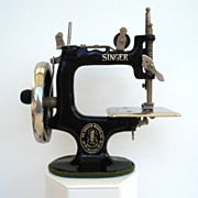 SOLD Antique Child's Singer Sewing Machine Cast Iron Hand Operated With Metal Clamp