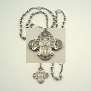SOLD Exquisite HFB Hallmarked Vintage All Sterling Silver Rosary Small Size