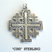 Vintage Signed Cini REVERSIBLE Sterling Silver Cross Pendant Italian Renaissance