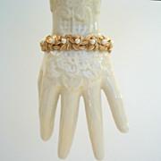 Elegant Vintage Signed Glass Pearl and Gold Tone Floral Bracelet