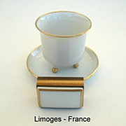 SALE Beautiful Vintage Limoges France 3 Piece Smoke Set A. Vignaud Freres