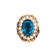 Vintage Czech Capri Blue Art Glass Ring Rhinestones Gold Filled Florals