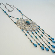 Unique Ornate Vintage Silver Filigree Necklace Simulated Turquoise & Glass Bead Dangles