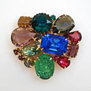 Vintage Rainbow of Colors Brooch Pin Art Glass Stones & Rhinestones