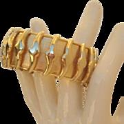 Vintage Whiting & Davis Wide Gold Hinged Bangle Bracelet Textured Overlays