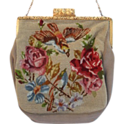 Vintage Late 1800's Silk Victorian Evening Bag Purse Petite Point Embroidered Birds Floral E