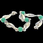 Vintage Sterling Silver & Simulated Jade Filigree Bracelet