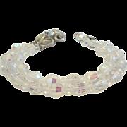 Vintage Double Strand Austrian Crystal Bracelet Rhinestone Flower Clasp