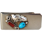 Vintage Native American Navajo MONEY CLIP Turquoise Coral Sterling Silver Multiple Overlays