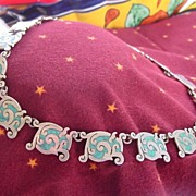 SOLD Vintage Mexican Necklace Sterling and Inlay Turquoise 16 in.
