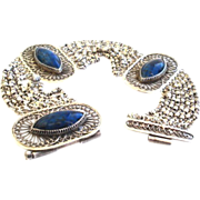 SOLD Vintage Chinese 900 Silver Lapis lazuli Bracelet Lacey Filigree Multiple Chains