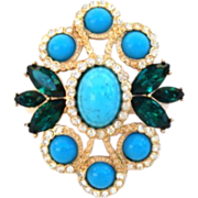 Vintage Sarah Coventry Pendant Brooch Gold Rhinestones & Novelty Stones