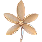 Vintage Crown Trifari Flower Brooch Pin Signed