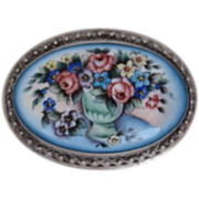 SOLD Antique Victorian Sterling Silver Hand Painted VASE & Flowers Porcelain Brooch Pin
