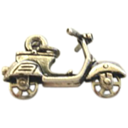 Vintage Sterling Silver Moped Charm Mechanical Moving Wheel Great Detailing