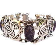 Heavy Vintage Mexican Sterling Silver & Amethyst Bracelet Pre Colombian Design Signed