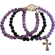 SOLD Unique Amethyst Black Onyx Sterling Silver Bracelet Marcasite Cross Charm
