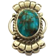 Tiny Vintage Native American Turquoise Sterling Silver Scatter Brooch Pin