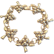 Exquisite Vintage 1930's Mexican Sterling Silver Grapes Bracelet Signed