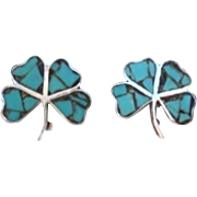 Vintage Mexican Lucky Shamrock 4-Leaf Clover Earrings Sterling & Turquoise Chip Inlay Signed
