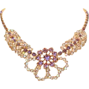 Unique Vintage Purple Lavender & Clear Rhinestone Necklace