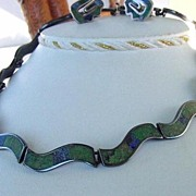 SOLD Vintage LOS CASTILLOS Mexican Set Art Deco Style Choker Necklace & Earrings Mosaic Inlay