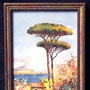 Fine Early 20th Century Neapolitan Bay of Naples (Vesuvius) Gouache Landscape, Signed