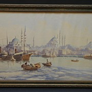 1930's Istanbul Port Painting by Ro Cherif, Original Watercolor Signed