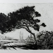 """Fine Original Etching """"Road To Nice, France"""" 1940 by Listed Chicago Artist Josef Pie"""