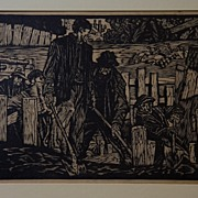 Woodblock Print by Listed WI / MI WPA Artist Allan A. F. Thomas