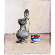 Miniature Still Life Painting, Mid Century, Signed With Initials