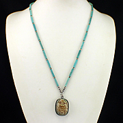 Beautiful Retro Turquoise Clay Scarab Necklace