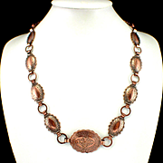 """SALE Unique Copper Clad Very Detailed Concho 24"""" Necklace"""