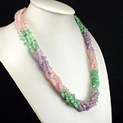 SALE PENDING Fabulous Retro Rose Quartz Jade Amethyst Five Strand Torsade Necklace Nugget Neck