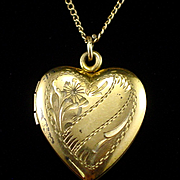 SALE Art Deco 1/20 12k GF on Sterling Lindroth Etched Heart Locket Necklace