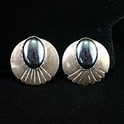 SALE Navajo Julia Etsitty Large Sterling Hemitite Earrings