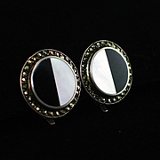 Signed Sterling Onyx MOP Marcasite Post Omega Earrings