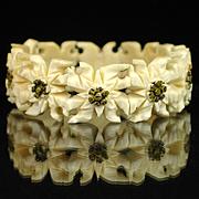 SALE Vintage Carved Bone Edelweiss Flower Stretch Bracelet