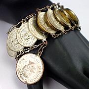 SALE Vintage Mexican Centavos Coin Bracelet 1945 to 1969