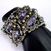 SALE Unique Huge Molded Celluloid Faux Pearl Link Bracelet