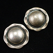 Unique Early Taxco Sterling Domed Clip Back Earrings