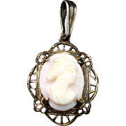 Art Deco Sterling Vermeil High Relief Carved Shell Cameo Pendant