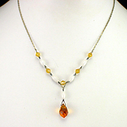 Retro Faceted Golden Amber Crystal Lavalier Necklace
