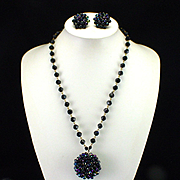 Western Germany Blue Aurora Lucite Cluster Necklace and Earrings