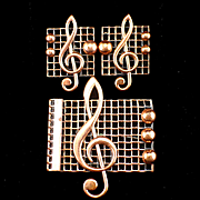 SALE Signed Renoir Copper Musical Clef Brooch and Earrings