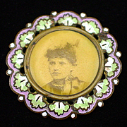 SALE Art Nouveau Celluloid Photo Pin of Beautiful Lady with Enamel Frame