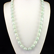 """SALE PENDING Estate Early 1990s Sterling Hand Knotted Celadon Jade 36"""" Necklace"""