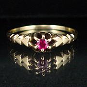 SALE Art Deco 14k Ruby Ring Size 7-1/2